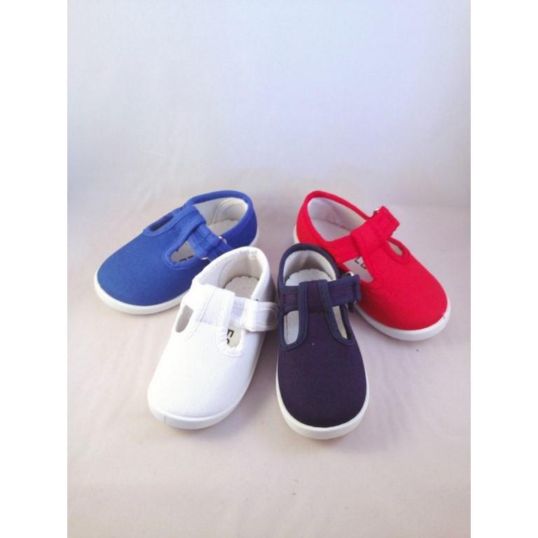 b0d897fdb Zapatillas de lona o tela para niño velcro en marino rojo azul blanco