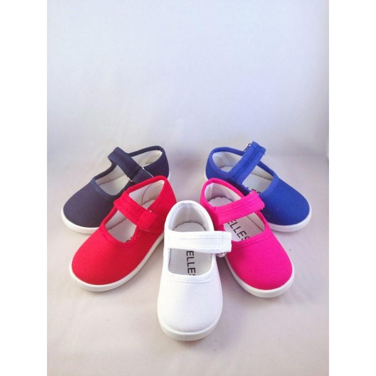 74e275ab Zapatillas de lona o tela niña en marino azul fuxia rosa rojo blanco