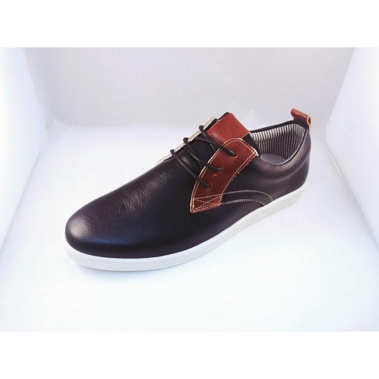 Zapato sport caballero hombre negro con cordón y suela blanca barato