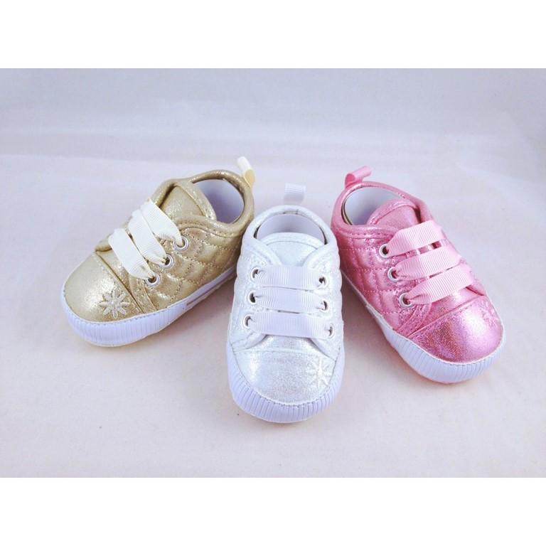 2e4c613c5 zapato brillos para bebé de bubble sin suela en rosa plata y oro